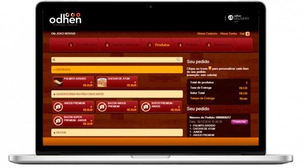 tela de do sistema de delivery